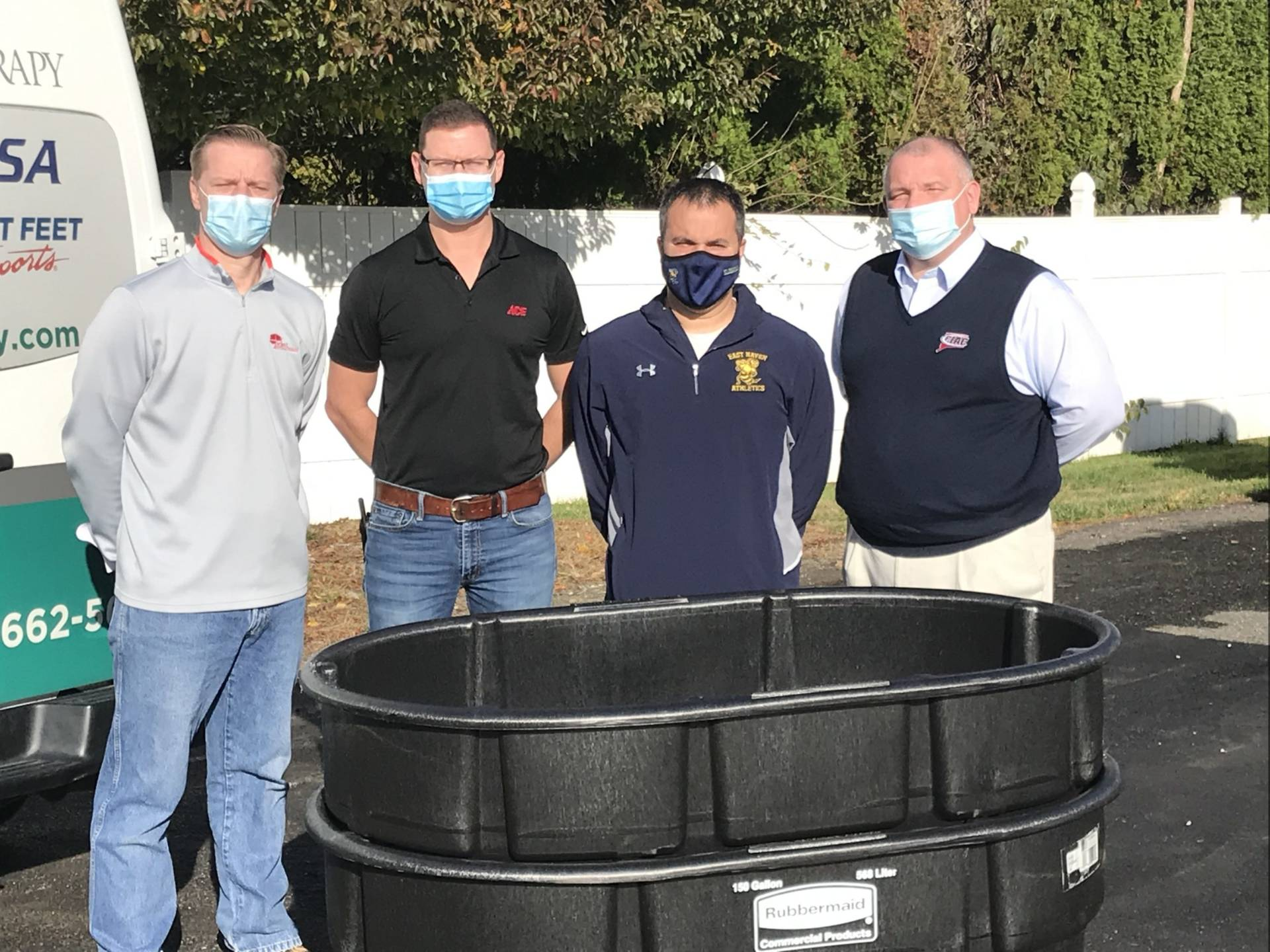 Pictured left to right are Perry Siegel CATA President, Matt Petuch Store Manager at H.W. Hine Hardware in Cheshire, Marc Aceto athletic trainer from East Haven High School, and Glenn Lungarini CIAC Executive Director.